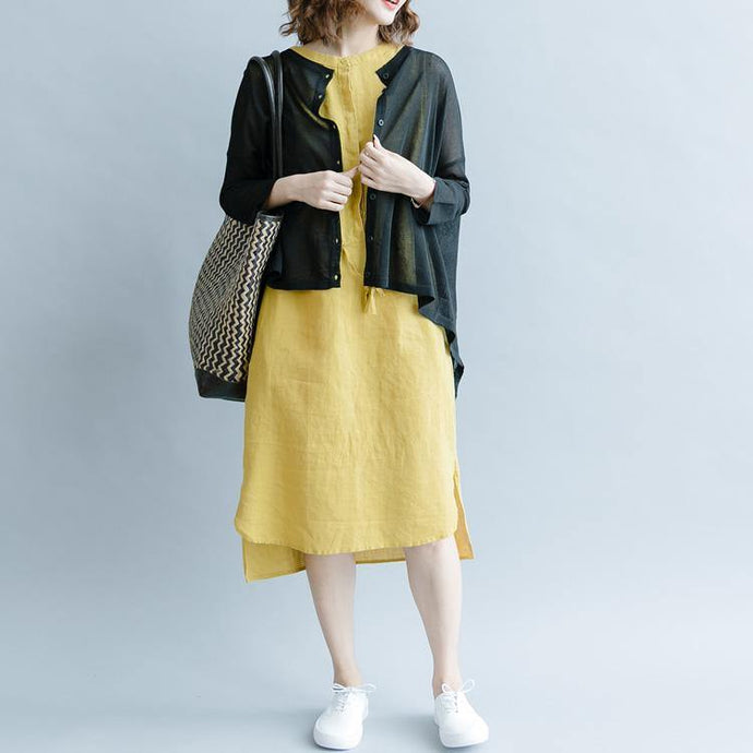 Italian stand collar linen clothes 2019 pattern yellow tunic Dresses