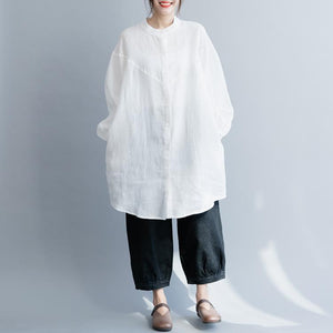 Italian white cotton linen tunic top Fine Shirts stand collar Button Down silhouette spring blouses