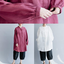 Load image into Gallery viewer, Italian white cotton linen tunic top Fine Shirts stand collar Button Down silhouette spring blouses