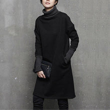 Load image into Gallery viewer, Italian winter Cotton high neck Tunics pattern black Dresses