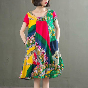 Italian yellow print linen tunic dress o neck patchwork baggy summer Dresses