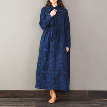Load image into Gallery viewer, Jacquard cotton tie waist clothes Women Neckline navy loose Dress