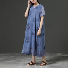 Load image into Gallery viewer, Jacquard Summer Purple Loose Casual Dress