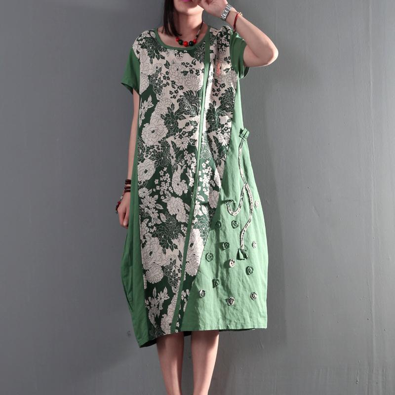 Joyful summer long linen sundresses plus size causal summer dresses gown caftan short sleeve green