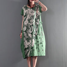 Load image into Gallery viewer, Joyful summer long linen sundresses plus size causal summer dresses gown caftan short sleeve green