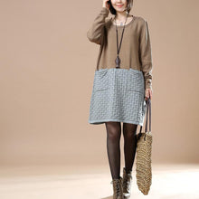 Laden Sie das Bild in den Galerie-Viewer, Khaki plus size sweaters new patter knit maxied color