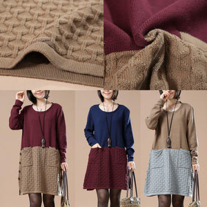 Khaki plus size sweaters new patter knit maxied color