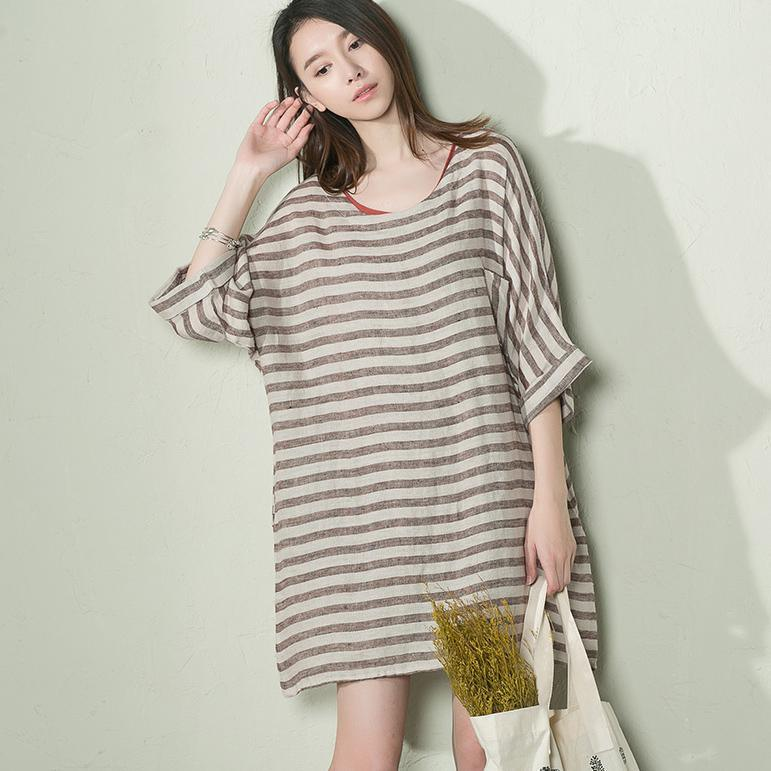 Khaki strip oversize summer linen dress plus size sundress holiday dress