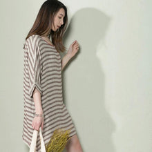 Load image into Gallery viewer, Khaki strip oversize summer linen dress plus size sundress holiday dress
