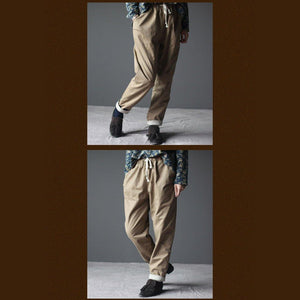 Khaki thick velour women pants trousers