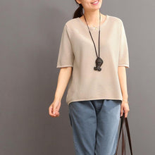Load image into Gallery viewer, Khaki women summer linen blouse shirt