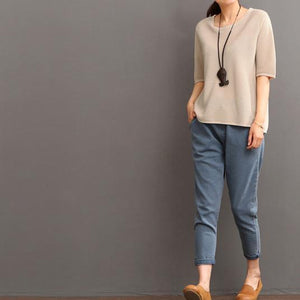 Khaki women summer linen blouse shirt