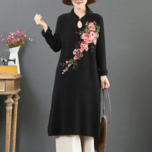 Load image into Gallery viewer, Knitted stand collar Sweater embroidery dress Largo black slim Hipster knitwear