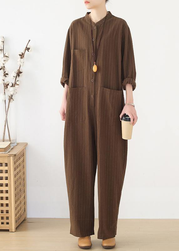Korean brown style loose plus size women's casual all-match overalls