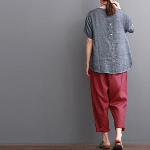 Lace patchwork linen blouse women plus size shirt top