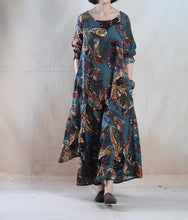 Laden Sie das Bild in den Galerie-Viewer, Lake blue vintage Asymmetric linen maxi dress long linen spring dress plus size