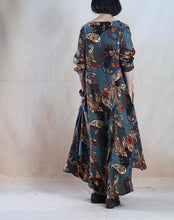 Load image into Gallery viewer, Lake blue vintage Asymmetric linen maxi dress long linen spring dress plus size