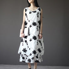 Load image into Gallery viewer, Layered embroideried flower sundress white linen summer dress