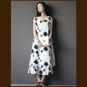 Layered embroideried flower sundress white linen summer dress