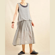 Load image into Gallery viewer, Layered gray sundress linen maxi dress