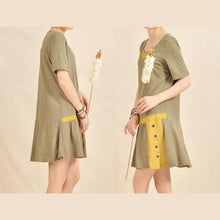 Load image into Gallery viewer, Layered neck sundress tea green cotton fit flare summer dress