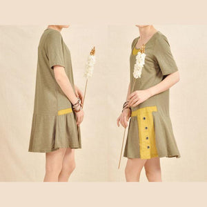 Layered neck sundress tea green cotton fit flare summer dress