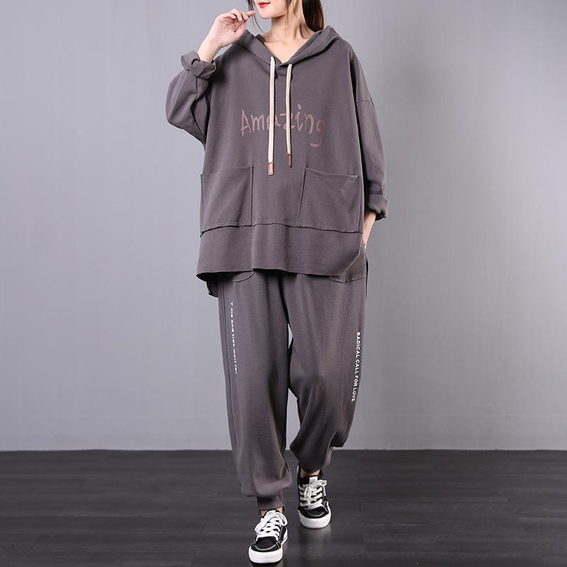 Leisure sports two-piece spring Korean style large gray size slim suit