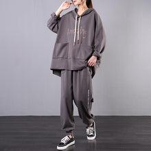 Load image into Gallery viewer, Leisure sports two-piece spring Korean style large gray size slim suit