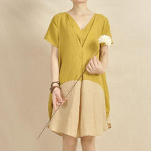 Load image into Gallery viewer, Lemon yellow shirt dress color patchwork sundress