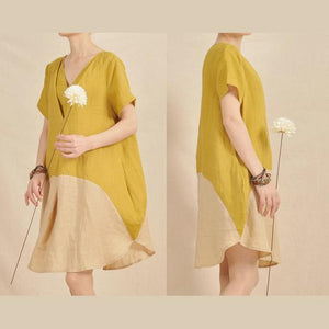 Lemon yellow shirt dress color patchwork sundress