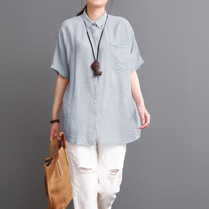 Light blouse silk top linen women blouse short