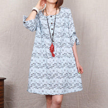 Laden Sie das Bild in den Galerie-Viewer, Light blue floral 2015 new cotton sundress plus size summer shift dress-will be available soon