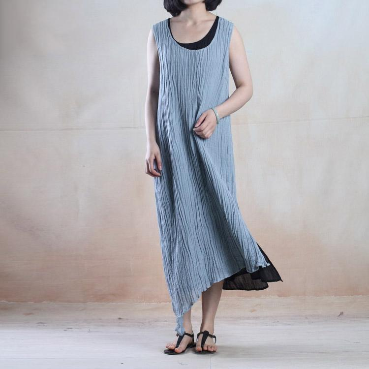 Light blue layered long linen sundress linen maxi dress