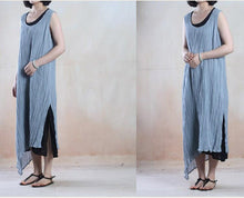 Load image into Gallery viewer, Light blue layered long linen sundress linen maxi dress
