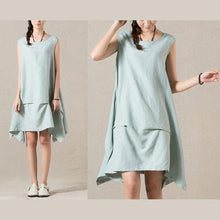 Load image into Gallery viewer, Light blue layered sleeveless day dress sundress
