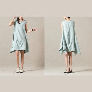 Light blue layered sleeveless day dress sundress
