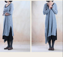 Load image into Gallery viewer, Light blue linen dress maxis Asymmetric dresses