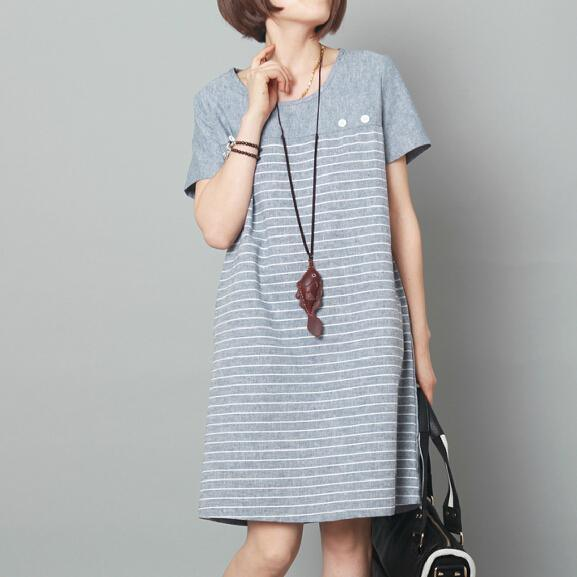Light blue linen sundress loose summer shift dress knee length