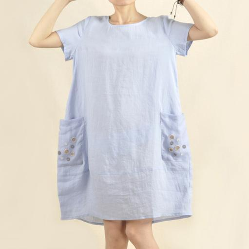 Light blue oversize casual sundress shirt dress