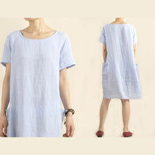 Load image into Gallery viewer, Light blue oversize casual sundress shirt dress