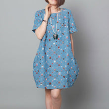 Load image into Gallery viewer, Light blue patchwork summer shift dress oversize sundress maternity dress