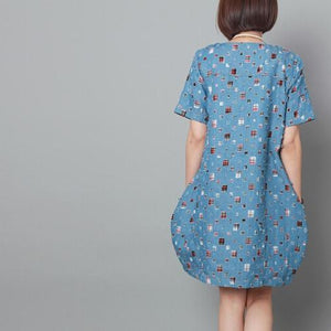 Light blue patchwork summer shift dress oversize sundress maternity dress