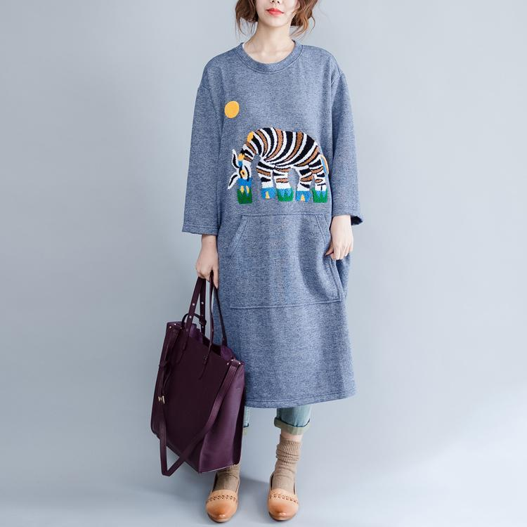 Light blue spring cotton dress oversize causal caftans elephant print baggy dresses
