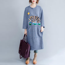 Laden Sie das Bild in den Galerie-Viewer, Light blue spring cotton dress oversize causal caftans elephant print baggy dresses
