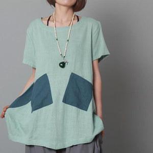 Light blue women summer shirt short sleeve cotton top blouse
