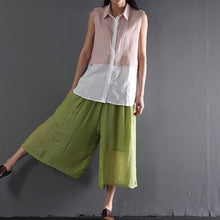 Load image into Gallery viewer, Light green cotton skirt pants wide leg trousers plus size