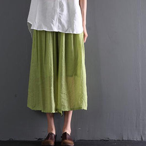 Light green cotton skirt pants wide leg trousers plus size