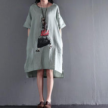 Load image into Gallery viewer, Light green linen maxi dresses summer casual dress plus size sundress
