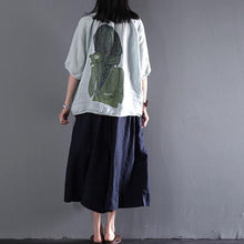 Load image into Gallery viewer, Light green linen summer cardigan women top blouse shirt print at back