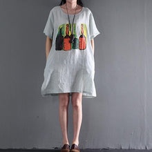 Load image into Gallery viewer, Unpredictable future linen dresses for summer plus size shift dress sundress white